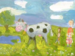 Шапиро Полина, 5 лет. На лужайке, Изостудия СОШ №4